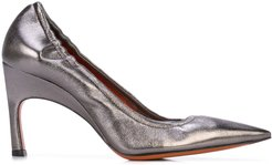 elasticated pointed pumps - Silver