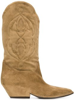stitched-pattern cowboy boots - Brown