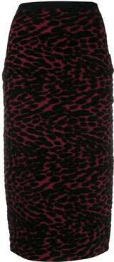 knitted leopard pencil skirt - Red