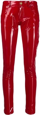 glossy-effect skinny trousers - Red