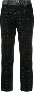 panelled cropped trousers - Black