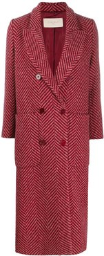 chevron pattern double-breasted coat - Pink