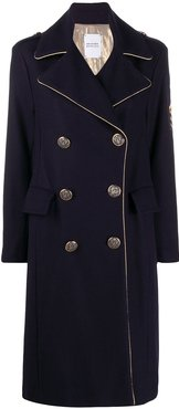 military-style double-breasted coat - Blue