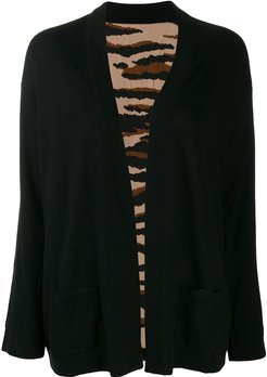 open front boxy cardigan - Black