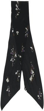 silk floral embroidered scarf - Black