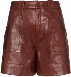 high-waisted shorts - Brown
