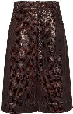 snake-print shorts - Brown