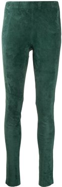 leather skinny trousers - Green