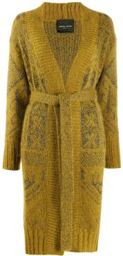 belted embroidered cardigan - Yellow