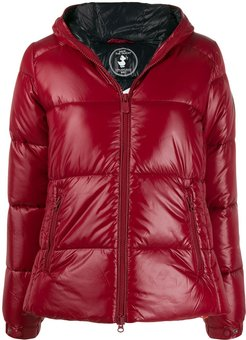 hooded puffer jacket - Red