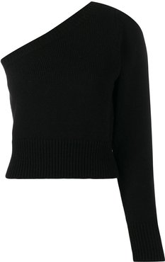 asymmetric one-shoulder top - Black