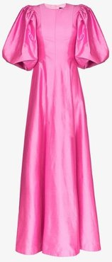 pouf sleeve silk gown