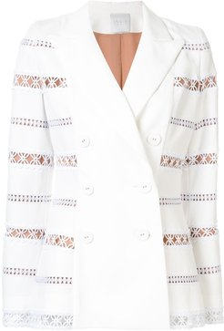 embroidered double-breasted blazer - White
