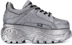 platform lace-up sneakers - SILVER