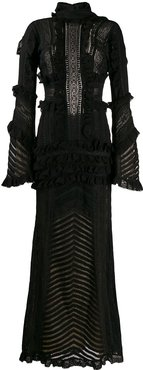 ruffle trim gown - Black