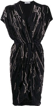 embellished wrap dress - Black