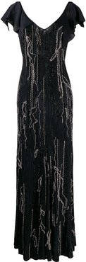 embellished evening dress - Black