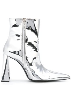 metallic pointed ankle boots - SILVER