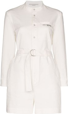 belted denim playsuit - White