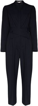 cross-over waist jumpsuit - Blue
