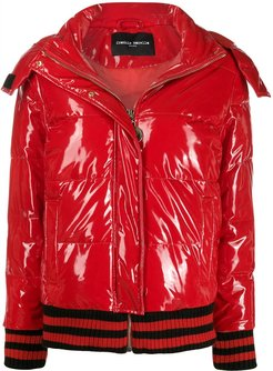 contrasting striped puffer jacket - Red