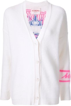 silhouette embroidered cardigan - White