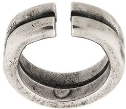 stacked logo embossed ring - SILVER