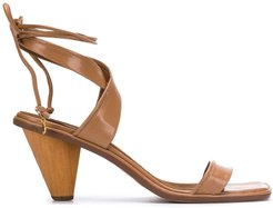 crossover strap sandals - Brown