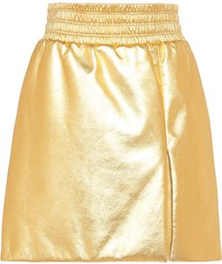 laminated A-line skirt - Gold