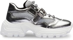 panelled low-top sneakers - SILVER