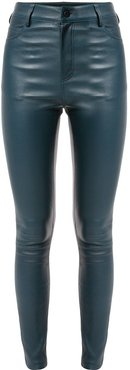 high-waisted leather trousers - Blue