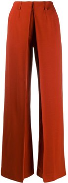 wide-leg pleated detail trousers - ORANGE