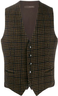 checked waistcoat - Brown