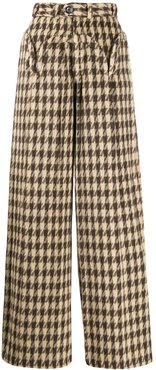 houndstooth print trousers - Brown