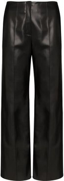 tie back faux leather trousers - Black