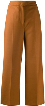 high-rise wide-leg cropped trousers - Orange