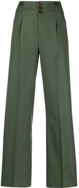 pleated-leg trousers - Green