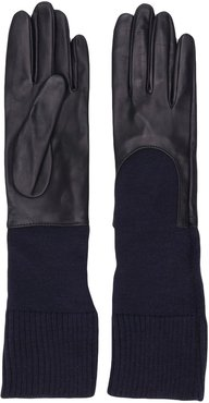 knitted cuff gloves - Blue