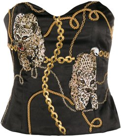 chain print bead-embellished bustier - Black