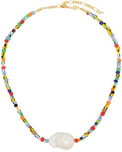 18kt gold-plated Alaia rainbow beaded pearl necklace - MIX