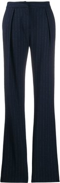 flared pinstripe trousers - Blue
