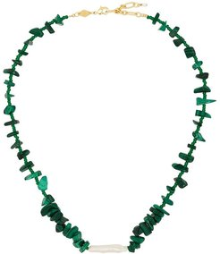 18kt gold-plated Ines malachite necklace - Green