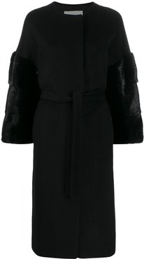 textured single breasted coat - Black