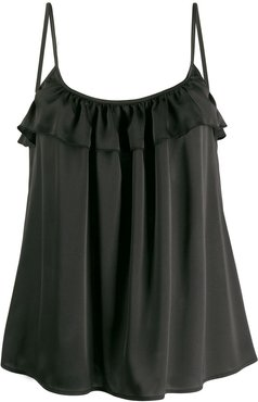 ruffled loose-fit top - Black