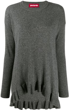 asymmetric hem fine knit sweater - Grey