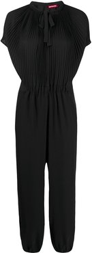 pleated tie neck jumpsuit - Black