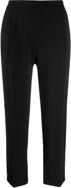 cropped high-waisted tailored trousers - Black