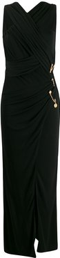 crossover front pin detail dress - Black