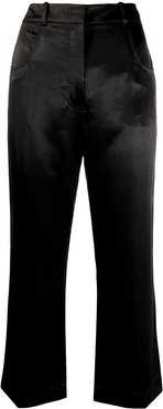 cropped flared leg trousers - Black