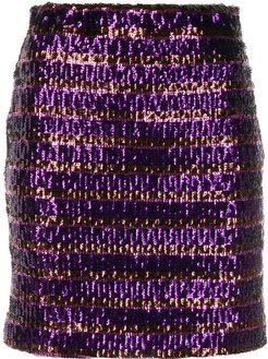 sequin embroidered high-waisted skirt - PURPLE